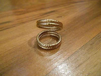 Old Vintage Double Ring, wear all the way down or just knuckle, Jewelry goldtone