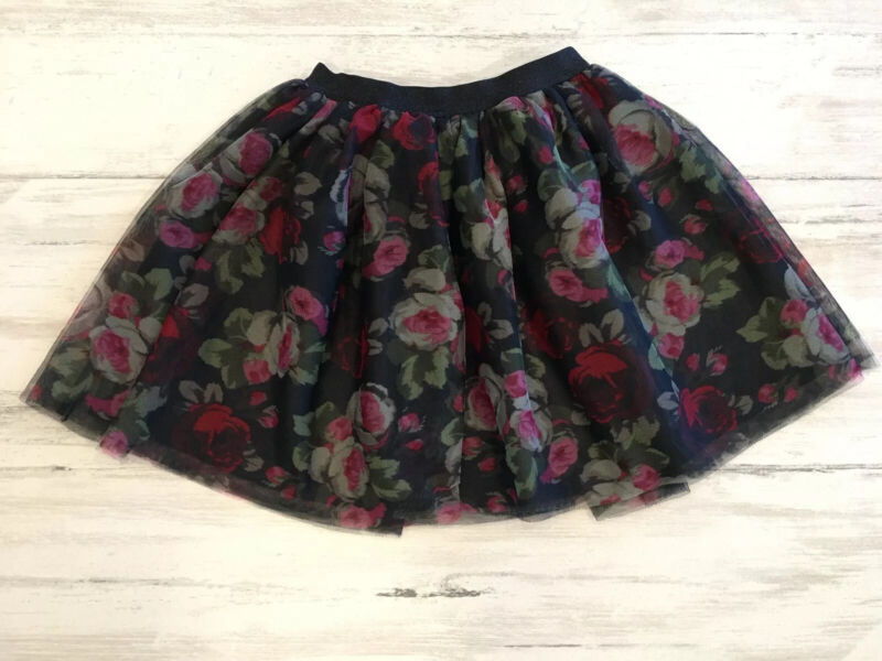 EST. 1989 Place Girls Black Mesh Floral Design Tutu Skirt Elastic Waist Sz 5/6