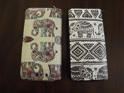 Around Elephant (Women All Over Print Zip Around Wallet 12 Card 3 Compartment Wallet Elephant )