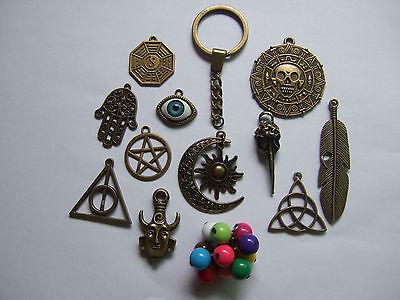 Antique Bronze Keyring Pendant Charm Crow Raven Eye Leaf Yin Yang Key Ring