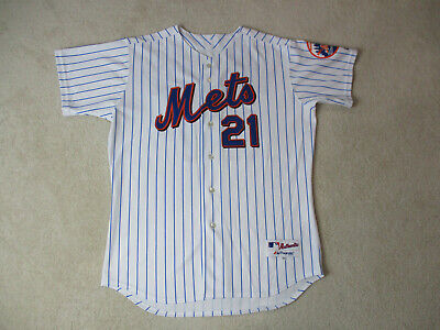 Majestic New York Mets Baseball Jersey Adult Large White Blue SEWN Authentic Men ()