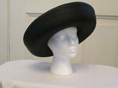Vintage Woman's Black Straw like Hat with Black Ribbon