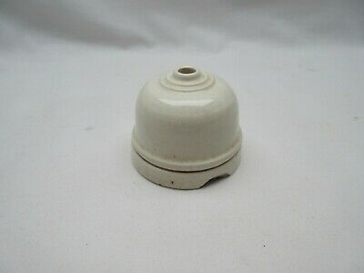 Salvaged vintage white ceramic electric ceiling light rose or pull cord switch
