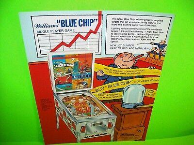 Williams BLUE CHIP Original 1977 NOS Flipper Game Pinball Machine Flyer No Stamp