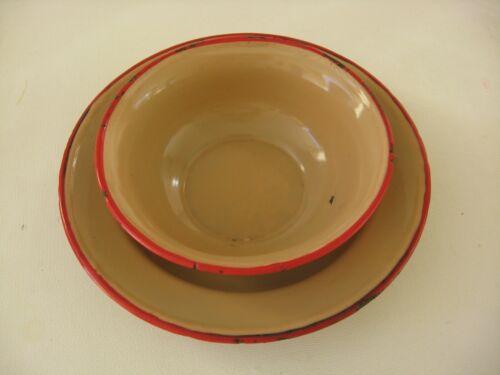 Vintage Bonyhad Hungary enamelware plate & bowl brown with red rim