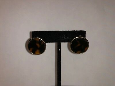 Faux Shell Earrings - Faux Tortoise Shell 23mm Disk Earrings with Gold Finish New in Packaging