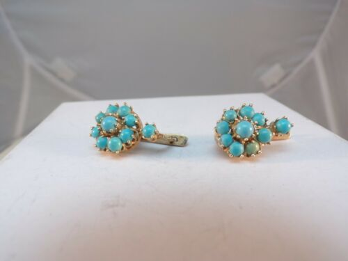 ANTIQUE  10KT BLOOMED GOLD TURQUOISE  EARRINGS