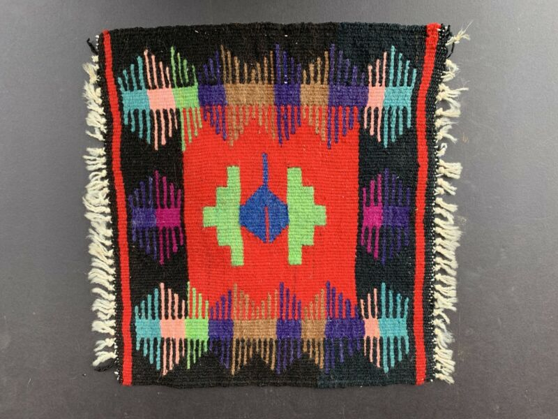 Vintage Mexican Aztec Indian small weaving rug