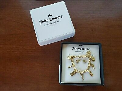 Juicy Couture Gold Tone Charm Bracelet and Crown Stud Earring Set New Juicy Couture Crown Charm