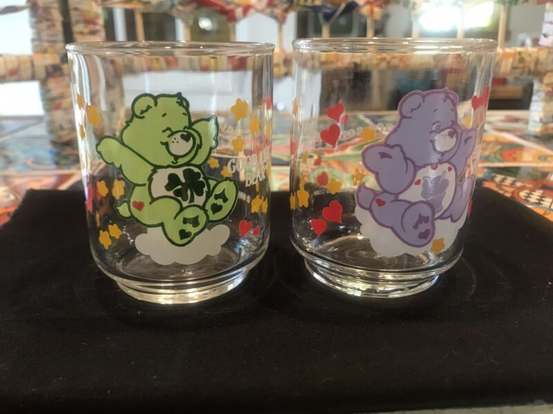Lot of 2 Vintage 1980s Care Bears Small Juice Glasses