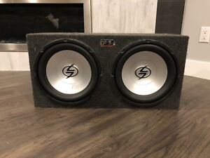 """2  12"""" subs with box and amp"""