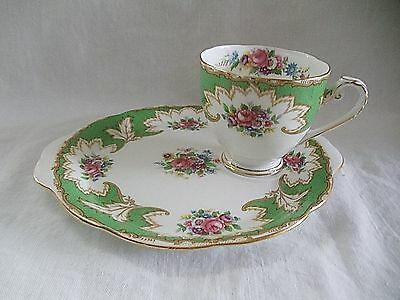 Royal Grafton China Floral Scene Tea Cup Biscuit Sandwich Lunch Plate Green Pink