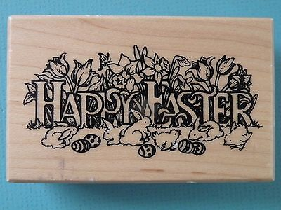 Easter Phrases (Happy Easter Greeting Phrase G-830 PSX Rubber Stamp Bunnies Chicks Flowers)