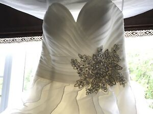 Organza & Crystal Wedding Dress - Size 8