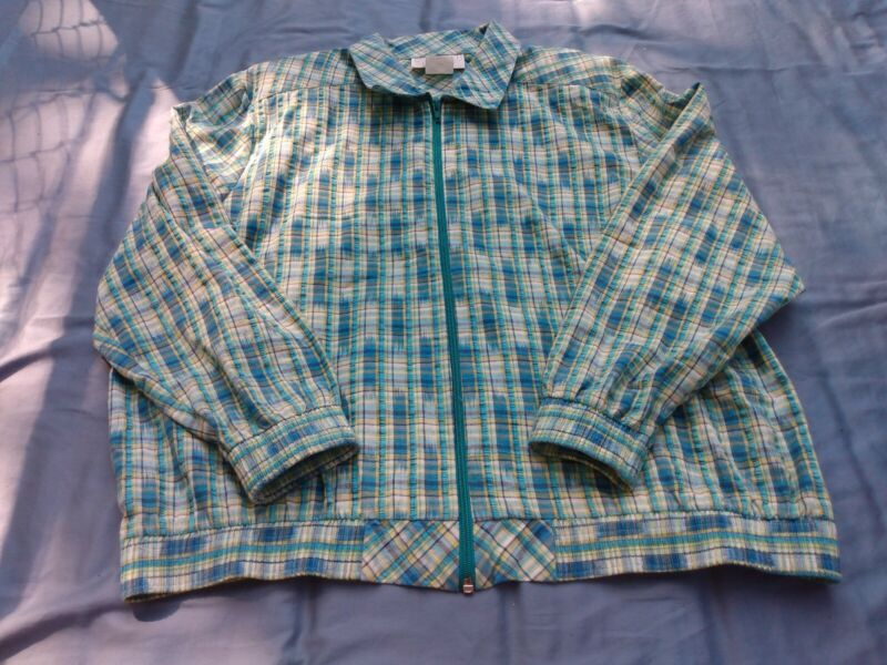 Popovitch Golf Women Green Plaid Jacket Size L Seersucker