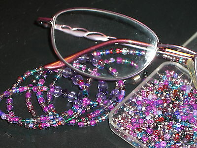 "Eyeglass Chain~Purple Magenta Mix~28""~Great Gift!~w/Crystals~NEW~BUY 3 SHIP FREE"