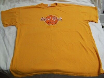 Rare Vintage Hard Rock Cafe Budapest Embroidered T-Shirt Bright Orange Size XL