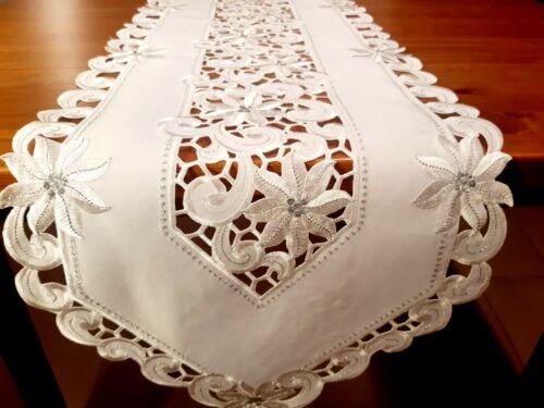 "40*175cm XMAS ""White/Silver Trim Poinsettia Cutout Embroidered T/Runner"
