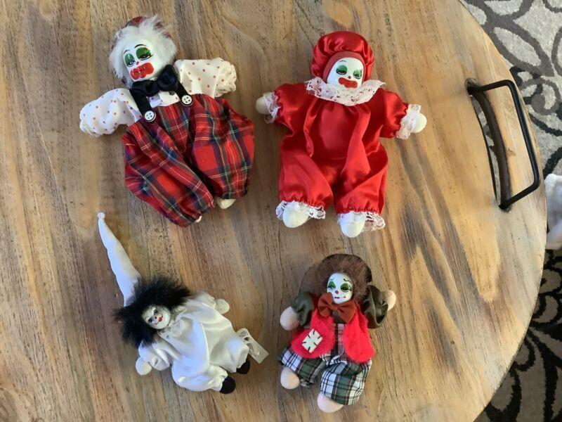 Vintage Porcelain Clown Jester Doll Sand Filled Collectible Lot Of 4 Ganz