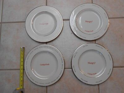 Set Lot Four Conagra Foods Plates Made By Pickard In Usa Silver Trim Advertising