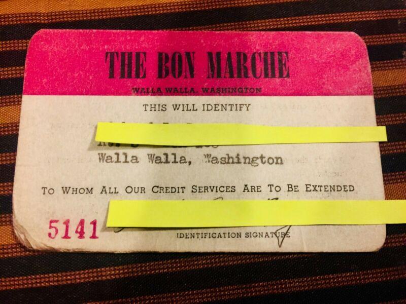 Bon Marche credit service charge account 1950 Vintage antique 1960 credit card