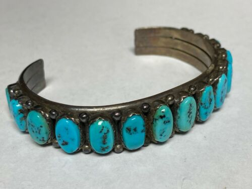M. Spencer Navajo Sterling Silver Turquoise Cuff Bracelet - 54.11 Grams NICE!!!