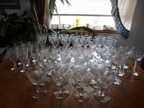 Etched Wheel Cut Wine Champagne Sherry Sherbet - Set of 48 pcs.