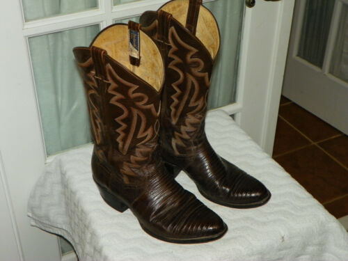PANHANDLE, SLIM, Brown, Lizard, Skin, Leather, Cowboy, Boots, Mens, Size, 10, D