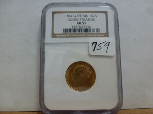 1864 Great Britain Gold 1 Sovereign Douro Treasure NGC AU-55