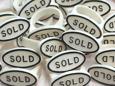 Ring Jewelry Display Sold Sign Ring Tag Insert Lot Of 20 - White Black