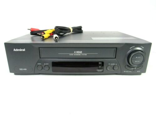 Admiral JSJ-20447 Rapid Rewind  4-Head VCR VHS Player Recorder No Remote