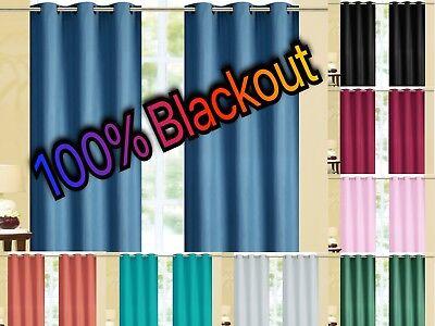 Circle Window - Kendal 100% BLACKOUT Foam Back Window Curtain Set - Two Panels All Size / Colors