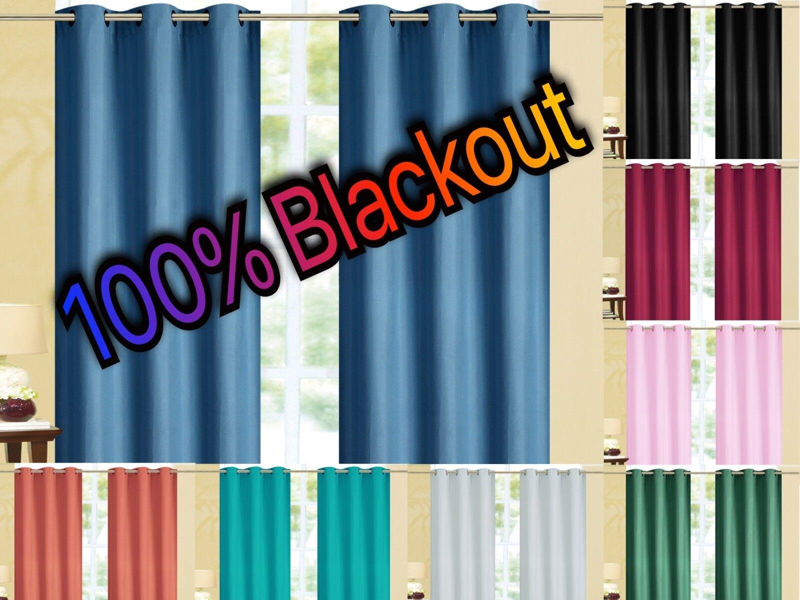 Kendal 100% BLACKOUT Foam Back Window Curtain Set - Two Pane