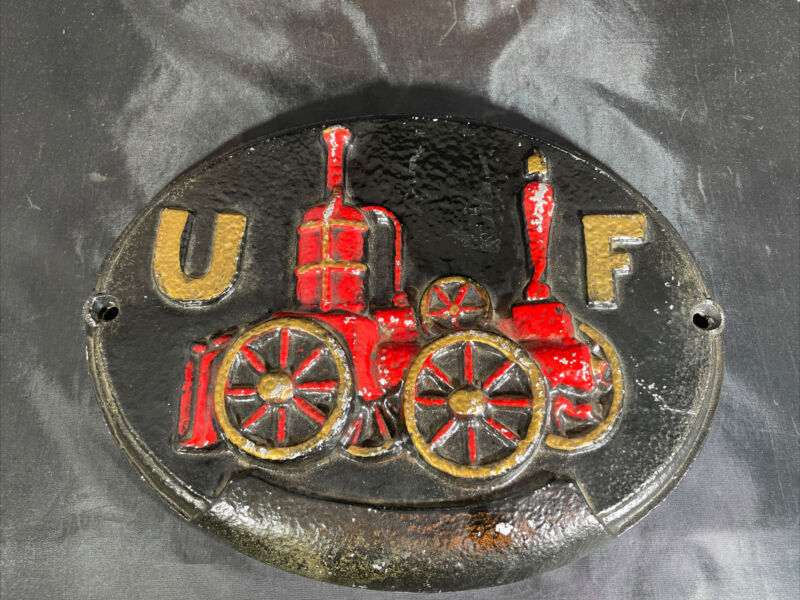 Cast Iron UF United Firefighter Insurance Steam Fire Engine Plaque Sign