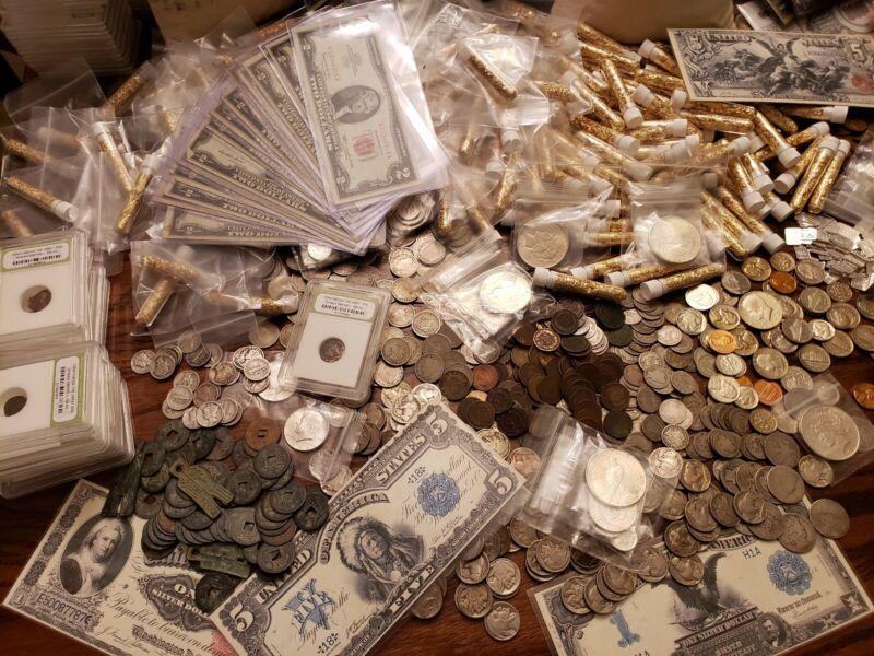 ESTATE LOT FIND, OLD US COINS, GOLD,.999 SILVER BARS, BULLION, RARE U.S. BILLS+