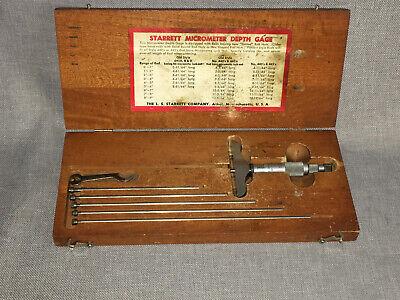 Used Lss Starrett No. 445 Micrometer Depth Gage W 6 Rods In Original Wood Case