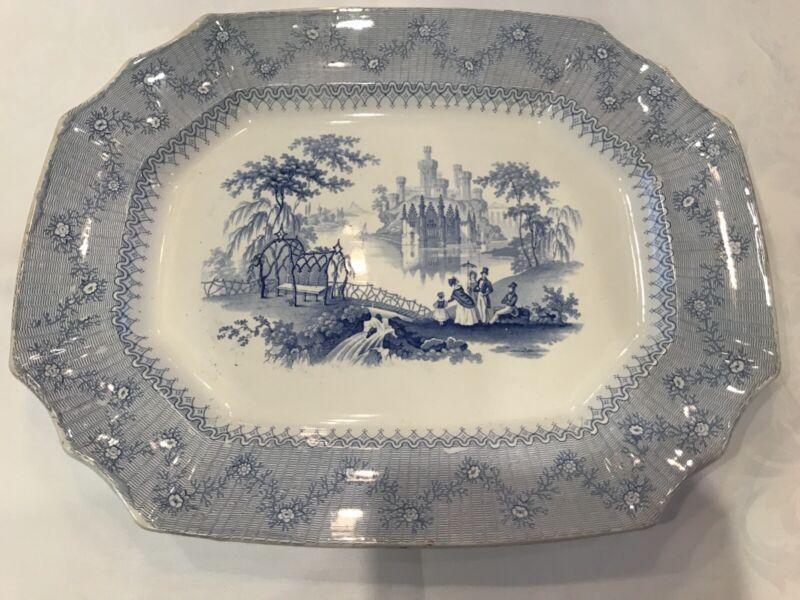 Cobridge Blantyre Blue / White Transferware Antique Rectangular Serving Platter