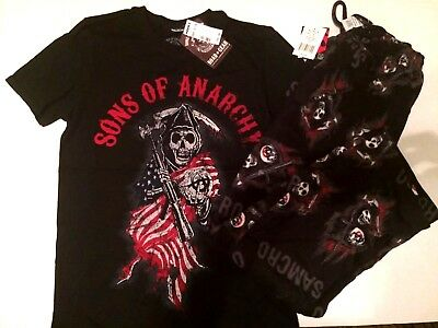 Sons Of Anarchy Mens T.shirt & Fleece PJ Bottoms Small black