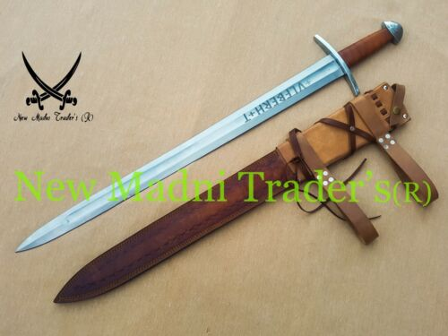 "38"" HIGH CARBON STEEL BROWN WRAP LEATHER HANDLE ULFBERHT SWORD WITH SHEATH"