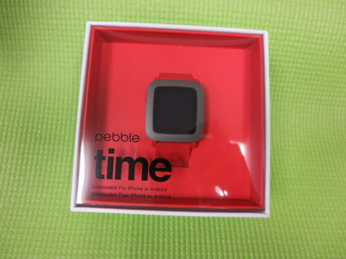 Pebble Time Smartwatch 38mm Polycarbonate Red Silicone PBTM-RED