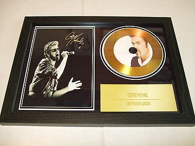 GEORGE MICHAEL   SIGNED FRAMED GOLD CD  DISC   3442