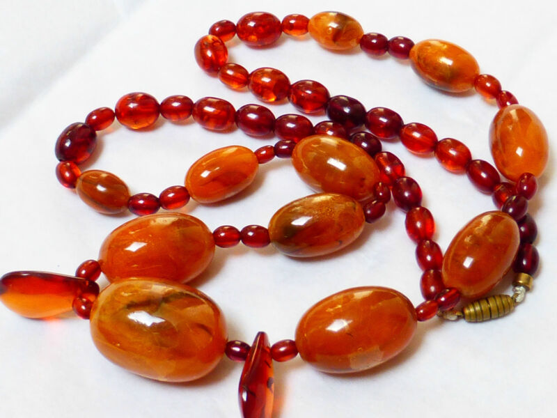 Antique Butterscotch Egg Yolk, Baltic Amber Oval Beaded Necklace, 43 grams