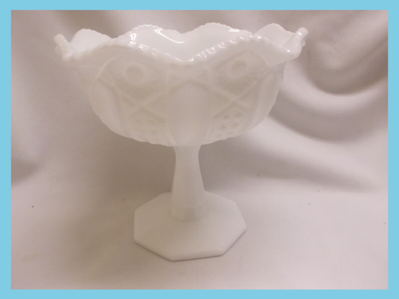 Westmoreland Footed heavy thick Milk Glass Compote in Old Quilt Pattern