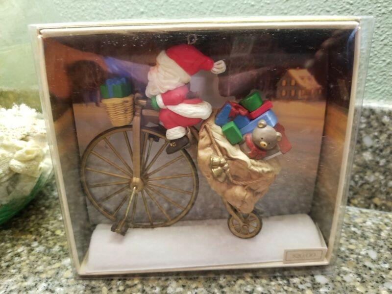 Hallmark Cycling Santa Keepsake Ornament in Original Box 1982 Vintage