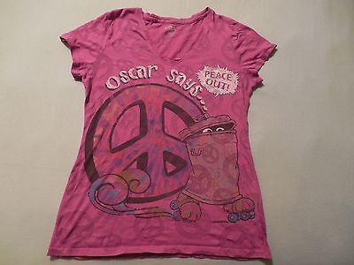 Sesame Street Oscar The Grouch Peace Out T-Shirt see through Womens Juniors XL Sesame Street Sheer