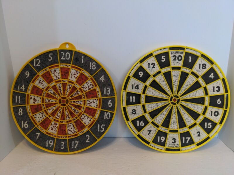 2Vintage Double Sided Champion Dart Board Black White and Yellow Made in England