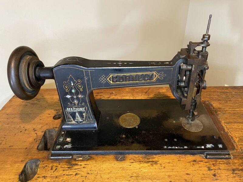 Antique Cornely Machine A Artisan Chainstitch Embroidery Machine w/ Desk + Motor