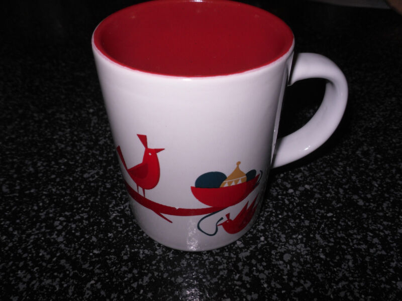 Starbucks Holiday Red Birds & Ornaments Tea Mug, Red Interior