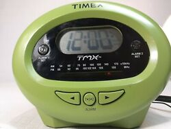 TIMEX TMX - TX- 40GL GREEN ALARM CLOCK AM/FM RADIO DUAL ALARM