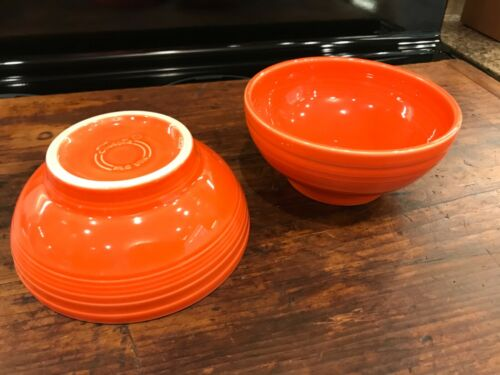 2 Fiesta Fiestaware Poppy Orange Medium Footed Bowl